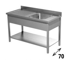 Freestanding Commercial Stainless Steel Single-Bowl Sink With Lefthand Drainer