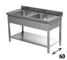 Commercial Stainless Steel Double-Bowl Sink depth 60 cm