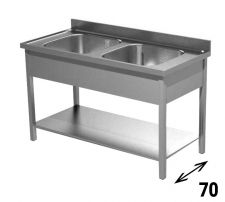 Commercial Stainless Steel Double-Bowl Sink Depth 70 cm