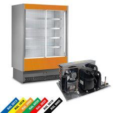 Multideck Display Fridge For Packed Meat, Double-Glazed Sliding Doors
