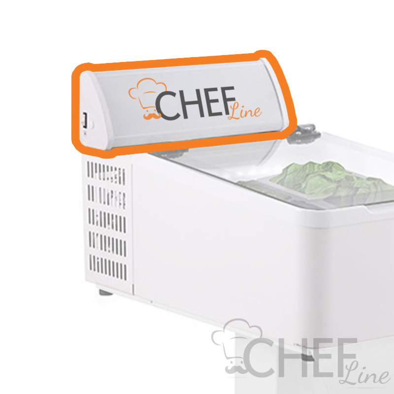 Chefook Customizable dome for horizontal ice cream display case 3 tubs