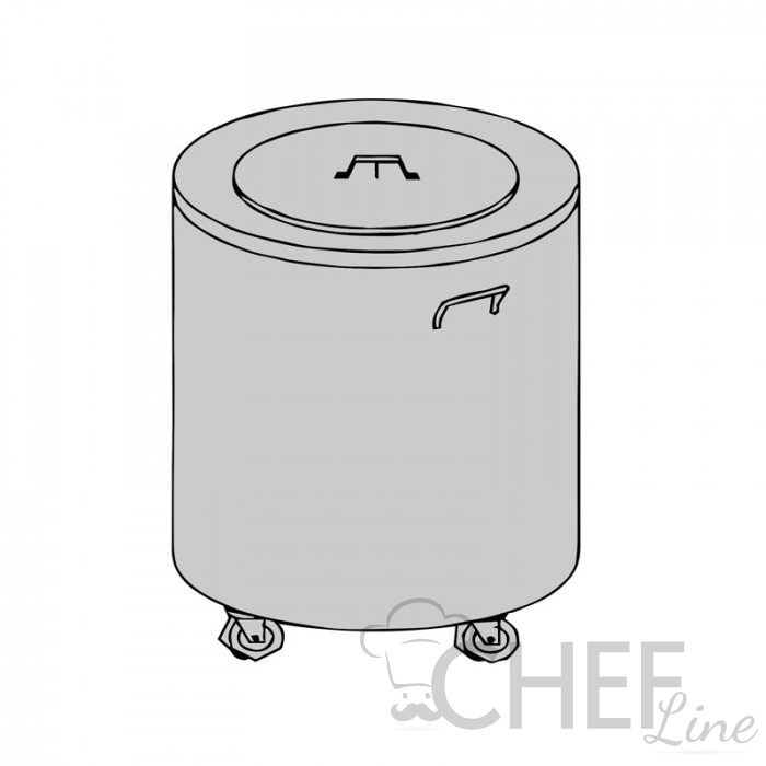 Cylindrical Trash Can with 50 Liters of Stainless Steel