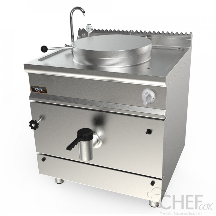CHEFOOK Gas Steam Kettle 102/113 Litres Indirect Heating 90 cm / 35,4 in Depth