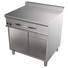 CHEFOOK 80 Cm Stainless Steel Double Worktop For Commercial Ranges With Drawer 70 cm / 27,6 in Depth