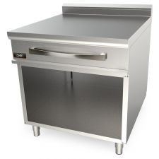 Solid Top Inox Double Worktop With Drawer For Commercial Ranges 90 cm