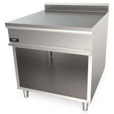 Solid Top Stainless Steel Double Worktop For Commercial Ranges 90 cm 20NX9T8M