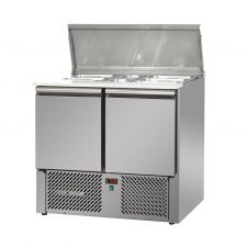 2 Door Saladette Fridge With Stainless-Steel Lids