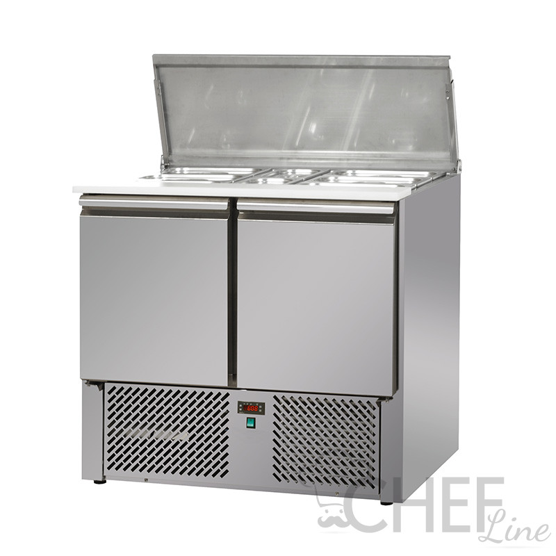 Saladette Réfrigérée 2 Portes Avec Couvercle En Acier Inoxydable