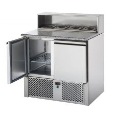 2 Door Saladette Fridge With Granite Top, Stainless Steel 5 GN 1/6