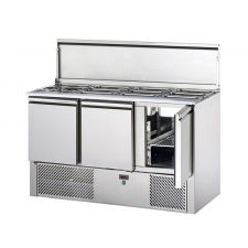3 Door Saladette Fridge With Stainless-Steel Hinged Lid