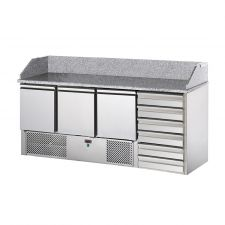 3 Door Saladette Fridge With Granite Top and 6 Neutral Drawers by Chefook