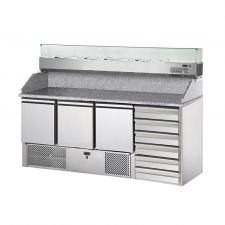 3-Door Salad Prep Fridge With Granite Top and Refrigerated Topping Unit + 6 Drawers