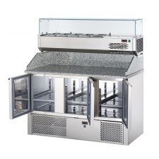 3-Door Salad Prep Fridge With Granite Top and Refrigerated Topping Unit by Chefook