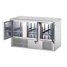 3 Door Saladette Fridge Stainless Steel Worktop
