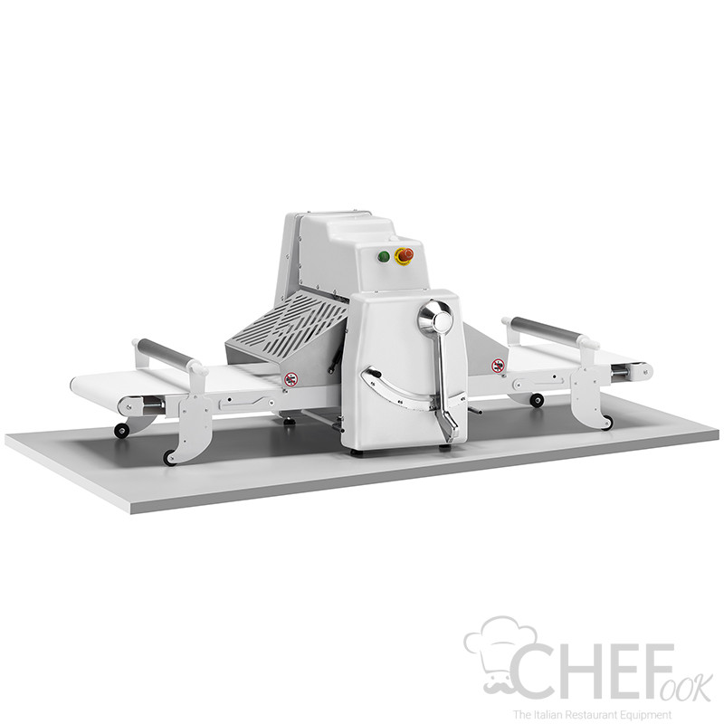 Countertop Dough Sheeter With Conveyor Belts 50 cm Manual Adjustment CHEFOOK