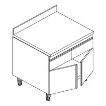 Table Armoire Inox Eko Avec Tiroirs, Dosseret et Porte Battante P 70 cm