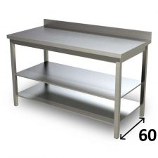 Top Stainless Steel Work Table with 2 Shelves and Backsplash Depth 60 cm DSTG2R006A