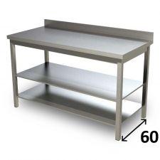 Table de Travail en Acier Inoxydable Avec 2 Étagères et Dosseret Profondeur 60 cm DSTG2R006A