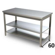 Table de Travail en Acier Inoxydable Avec 2 Étagères Profondeur 60 cm DSTG2R006