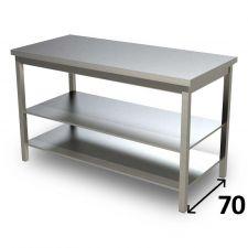 Table de Travail en Acier Inoxydable Avec 2 Étagères Profondeur 70 cm DSTG2R007
