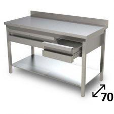 Table de Travail en Acier Inoxydable Avec Étagère Inférieure, Tiroirs et Dosseret Profondeur 70 cm DSTG2C007A