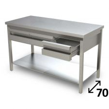 Top Stainless Steel Work Table with Undershelf and Drawers Depth 70 cm DSTG2C007