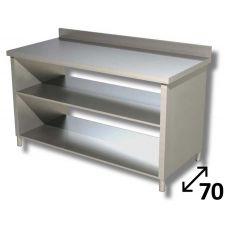 Top Stainless Steel Work Table with Side Panels, 2 Shelves and Backsplash Depth 70 cm DSTF2R007A