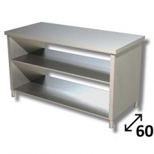Top Stainless Steel Work Table with Side Panels and 2 Shelves Depth 60 cm DSTF2R006