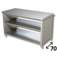 Top Stainless Steel Work Table with Side Panels and 2 Shelves Depth 70 cm DSTF2R007