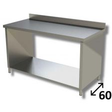 Top Stainless Steel Work Table with Side Panels, Undershelf and Backsplash Depth 60 cm DSTF1R006A