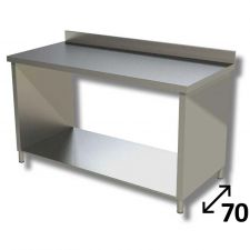 Top Stainless Steel Work Table with Side Panels, Undershelf and Backsplash Depth 70 cm DSTF1R007A