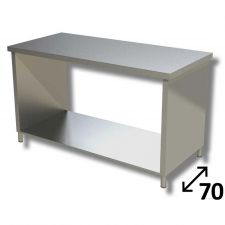 Top Stainless Steel Work Table with Side Panels and Undershelf Depth 70 cm DSTF1R007