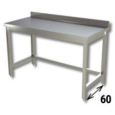 Top Stainless Steel Work Table with Reinforcements and Backsplash Depth 60 cm DSTGSR006A