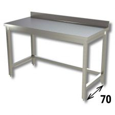 Top Stainless Steel Work Table with Reinforcements and Backsplash Depth 70 cm DSTGSR007A
