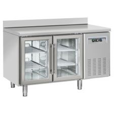 2-Door Worktop Fridge With Upstand 70 cm Depth +3°C/+10°C