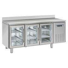 3-Door Worktop Fridge With Upstand 70 cm Depth +3°C/+10°C