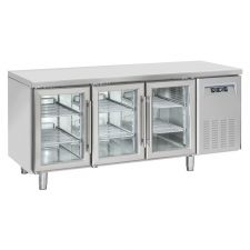 3-Door Worktop Fridge 70 cm Depth +3°C/+10°C