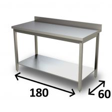 AISI 304 Stainless Steel Work Table With Undershelf and Backsplash 180x60 cm - Top Range