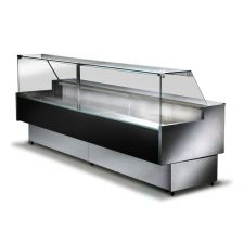 Black Semi Ventilated Serve Over Counter Fridge With Straight Glass and High Front 200x114 cm