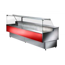 Red Semi Ventilated Serve Over Counter Fridge With Straight Glass and High Front 200x114 cm