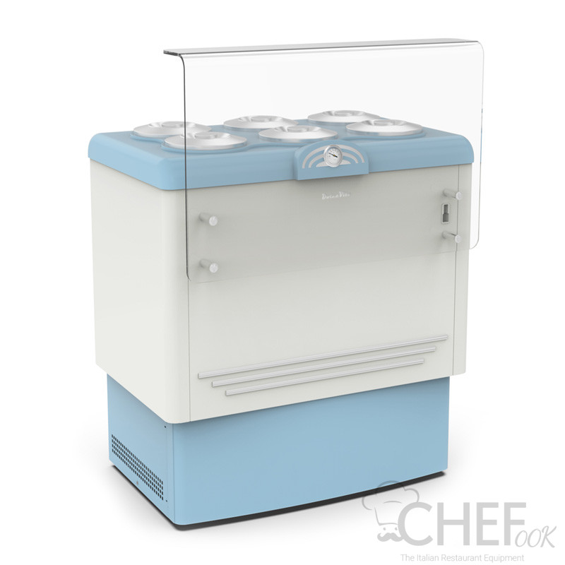 Ice Cream Counter With 6 x 7,5-Litre Cylindrical Containers