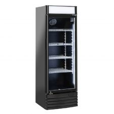 Black Refrigerated Display Case For Beverages 300 Liters +1/+10°C With Advertising Canopy