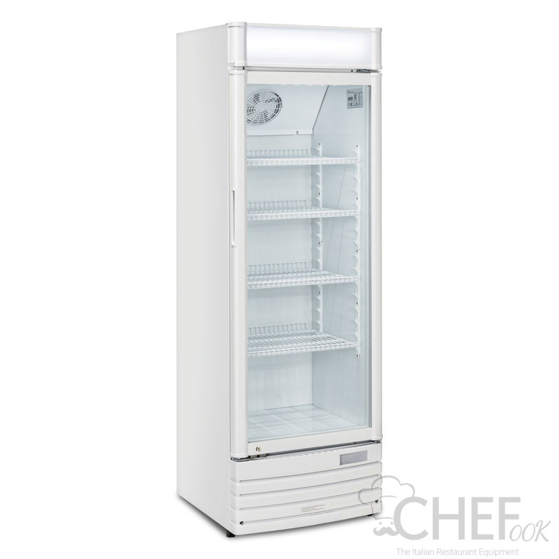 Refrigerated Display Case For Beverages 300 Liters +1 / +10°C With Advertising Canopy